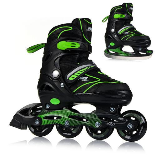 Inlineskates 2in1 Rollschuhe Schlittschuhe Verstellbar Inline Skates