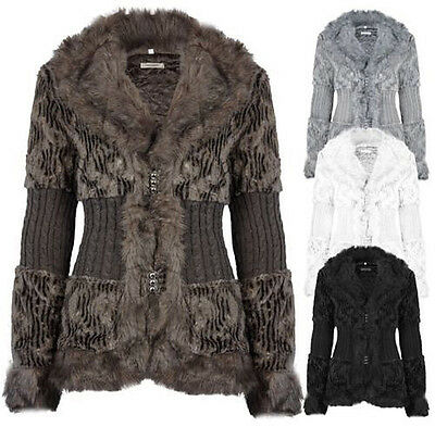 Ladies Faux Fur Knitted Jacket Cardigan Coat