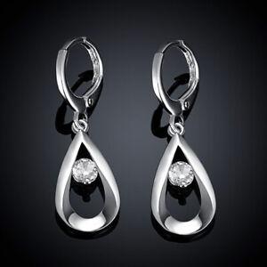 Beautiful-Fashion-925-Silver-Crystal-Stone-Earrings-Charm-Women-Ear-Hoop-Jewelry