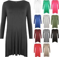 New Plus Size Womens Plain Long Sleeve Stretch Ladies Swing Dress Top 16 - 26