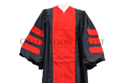 "Chest up to 42/"" RED velvet Doctoral Gown for height 5/'9/""-5/'11/"" #53"