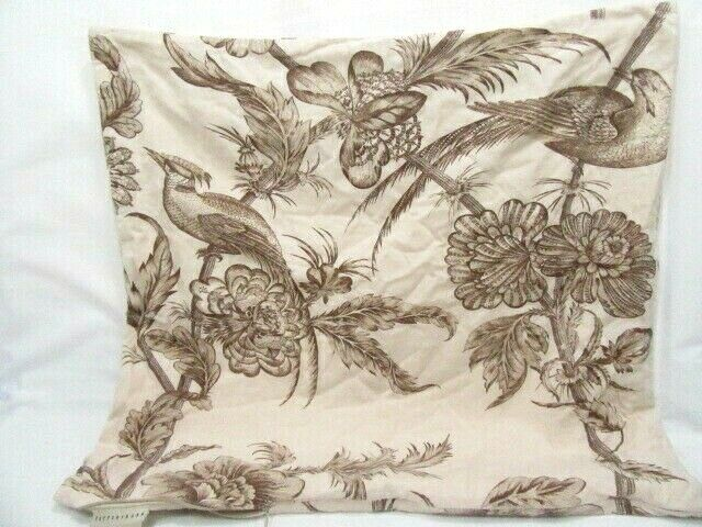 Pottery Barn Bird Floral Brown Cream Reversible 24 Inch