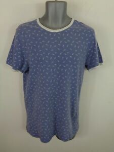 MENS-TOPMAN-BLUE-WHITE-PATTERNED-SHORT-SLEEVED-CASUAL-CREW-NECK-T-SHIRT-M-MEDIUM
