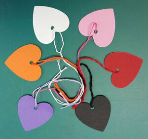 Heart-Shaped-Kraft-Strung-String-Tags-Swing-Price-Ticket-Jewellery-Tie-On-Labels