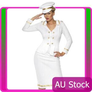 Ladies-Smiffys-Officer-Mate-Sailor-Costume-Pilot-Captain-Navy-Flight-Fancy-Dress