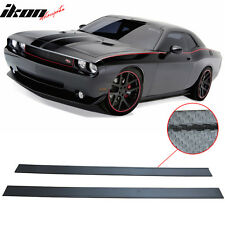 14 Dodge Challenger Carbon Fiber Texture Side Skirts Extension Bottom Line Lip