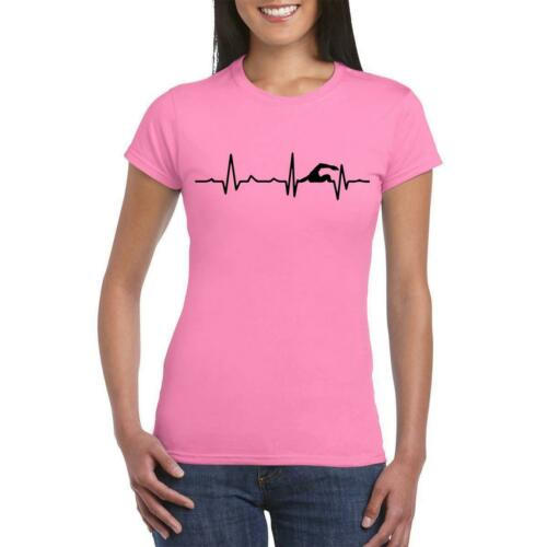Swimmer Swimming pool Heart  Love Beat  Funny Printed Women T shirt
