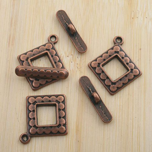 10sets antiqued copper  square toggle clasp G1470