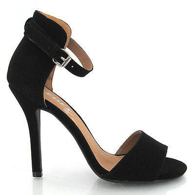 NEW WOMENS STILETTO SANDALS LADIES ANKLE STRAP HIGH HEEL SANDAL SHOES SIZE 3-8