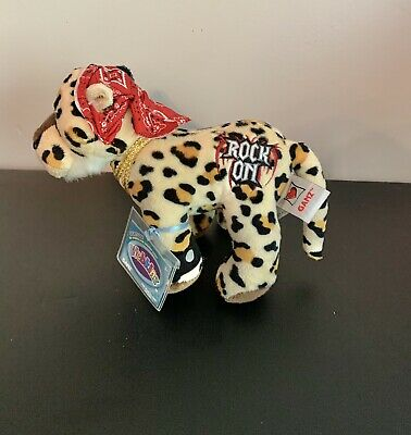 Plush Ganz Webkinz Rockerz Leopard HM5110 w// red bandanna /& Rock On NEW w// code