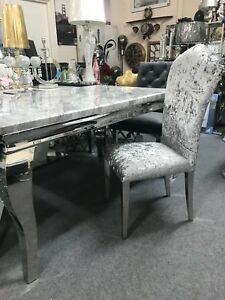 Magnificent Details About Marble Louis Dining Table 1 8M Wide With Curved Chrome Leg Chairs Option Spiritservingveterans Wood Chair Design Ideas Spiritservingveteransorg