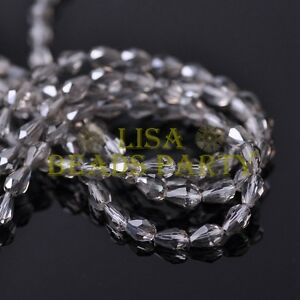 New-100pcs-5X3mm-Teardrop-Crystal-Glass-Faceted-Spacer-Loose-Beads-Gray
