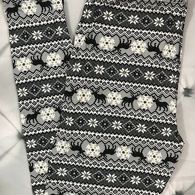 Christmas Reindeers Black Buttery Soft Leggings Plus Size 12-18 Curvy Size.
