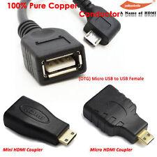 Micro HDMI/Mini HDMI to HDMI Adapter+OTG Micro USB to USB Converter for Android