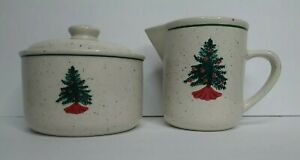 Tienshan Folk Craft Holiday Homecoming Creamer and Sugar Bowl Speckled Pottery