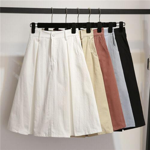 Women Simple Pockets Knee Length Skirt Fashion High Waist Stretchy A Line Ski xn
