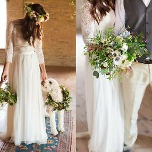Image Is Loading Muslim Vintage Lace Long Sleeve Boho Beach Wedding