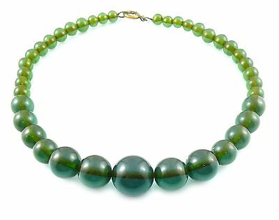 RARE Vintage 1930s 40s Transparent Blue Green Bakelite Graduated Beads NECKLACE