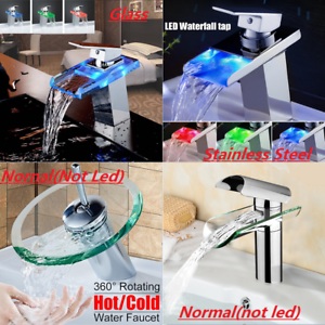 Chrome-Glass-Waterfall-Bath-Tap-Bathroom-Basin-Sink-Mixer-Faucet-LED-RGB-Colors