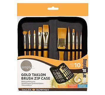 Simplemente oro Taklon cepillo de acrílico caso Zip 10pc el arte de dar