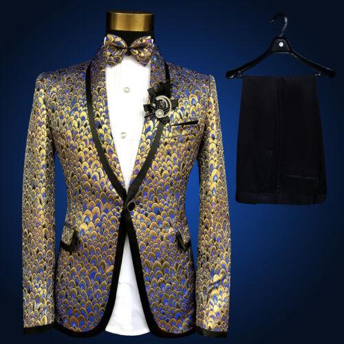 DJ Homme Blazer Manteau Veste à Sequins formelle robe pantalon ensembles Party Costume S-5XL
