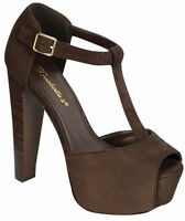 Brown High Heel T-strap Platform Peep Toe Sandal Women's Shoes Breckelle's