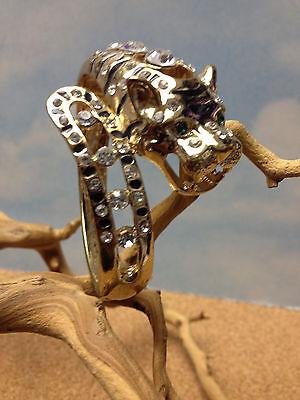 LEOPARD PANTHER COUGAR JAGUAR LION TIGER   DARK SILVER CUFF BRACELET  w CRYSTALS