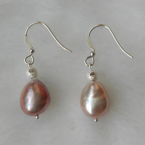 Real De 11 Mm Lila gota de perla pendientes en plata Crooks