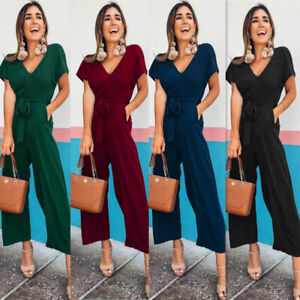 2019-Women-Summer-V-neck-Short-Sleeve-Casual-Jumpsuit-Maxi-Evening-Cocktail-Prom