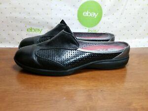 ea27e247e42b3 ARAVON By New Balance Women's Black Leather Slip on Shoes Mules ...