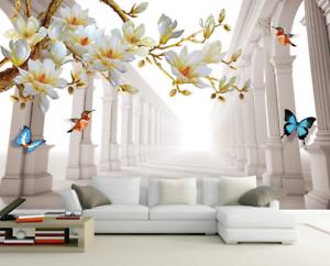 Papel Pintado Mural Vellón Corredor Mariposas Magnolia 1 Paisaje Fondo Pansize