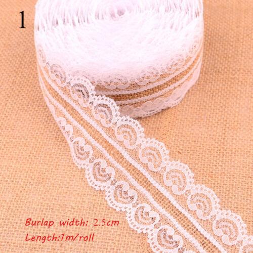 Arco de boda Rustica Vintage Encaje Borde Arpillera blanca Yute Arpillera Sisal recorte de la cinta