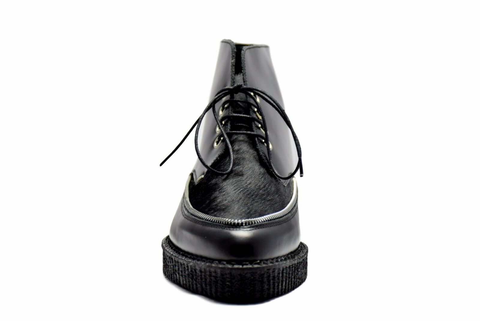 Steel Ground Ground Ground Black Leather Ankle Boots Hair Point Lace Up Creepers Pointed Zip 8574e4