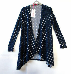 Ladies Navy & White Spotted Waterfall Cardigan by 'YourStyle' - UK ...