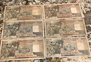 ALGERIA-TUNISIA-5000-FRANC-1949-50-51-52-53-amp-55-SIX-6-BANK-NOTES-FRENCH-ERA