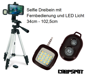Selfie Stativ Set + Fernbedienung + LED Licht Karpfen Tripod Smartphone NGT Carp