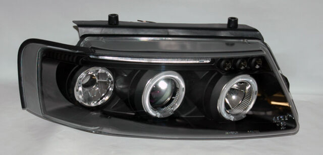 VW Passat 1997-2000 Black Projector Halo Angel Eyes Headlights Pair RH LH