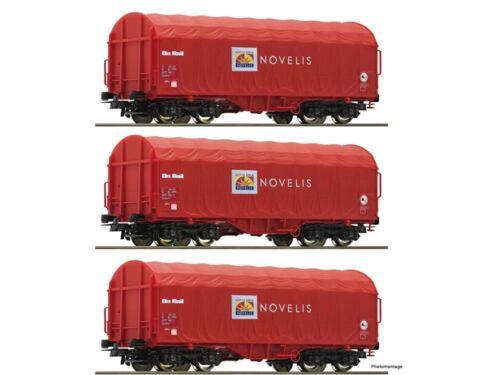 Roco 76095 güterwagenset schiebewandwagen Novelis 3x h0