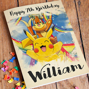 Image Is Loading POKEMON Personalised Birthday Card FREE Shipping Pikachu Daughter