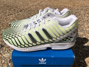 b03097e0f23cb NEW Adidas ZX Flux XENO Snake Men s Shoes White Green 3M Reflective ...