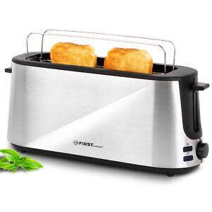 Edelstahl 2 Scheiben Toaster mit Brötchenaufsat