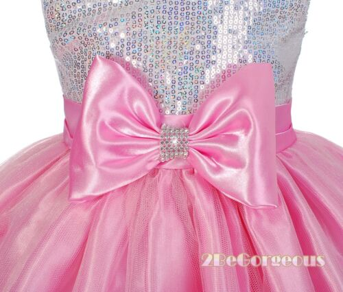 Pink Formal Occasion Dresses Wedding Flower Girl Party Holiday Size 9m-9y FG280