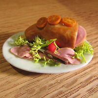 Ham Joint on Plate ~ Doll House Miniature ~ 1/12 scale