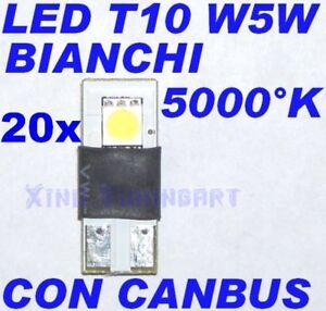 20-LED-Lights-Canbus-White-T10-W5W-Resistances-Error-Free