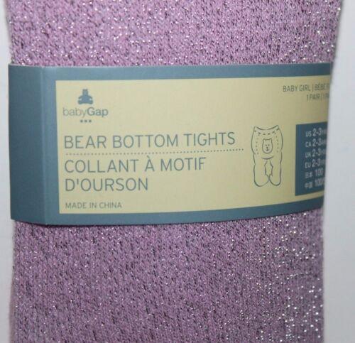 baby Gap NWT Baby Toddler Girls 2 3 4 5 Pink Metallic Glitter Tights Bear on Bum