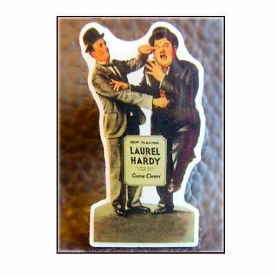"Laurel & and Hardy  ' COME CLEAN STANDEE' 1"" METAL PIN BADGE - ONE ONLY LEFT!!!"