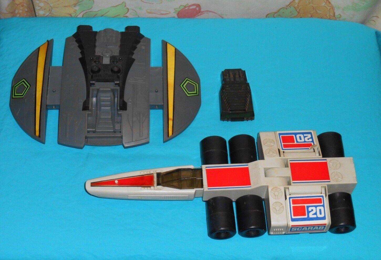 Vintage Battlestar Galactica CYLON RAIDER + SCARAB lot (no pilot or missiles)