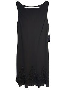 S-L-Fashion-Size-16-Dress-Black-Beaded-Bottom-NWT-115