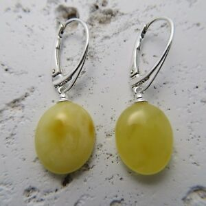 Genuine-Butterscotch-BALTIC-AMBER-Earrings-STERLING-SILVER-Leverback-1764