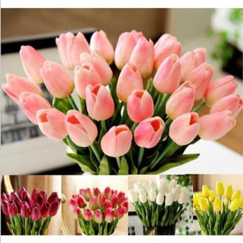 10PCS Lot Tulip Artificial Flower Latex  Bridal Wedding Bouquet Home Decor